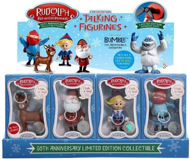 Rudolph the Red-Nosed Reindeer 50th Anniversary Limited Edition Collectible- Set of 4 Talk & Sing!