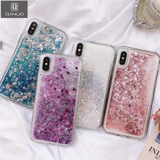 QINUO Love Heart Glitter Phone Case For iphone X XR XS MAX Liquid Quicksand Cover For iphone 5 5S