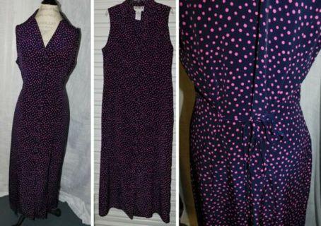 Pretty Polka-Dot Long Tie Back Dress Womens Size 14 Tie Back LOVELY Frock~