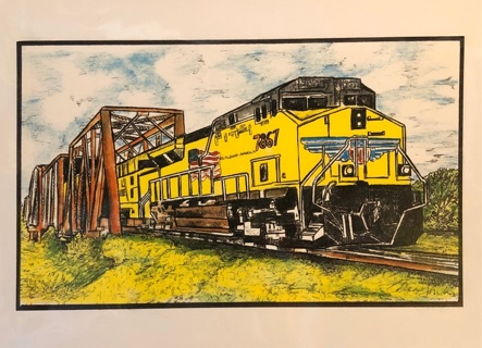 """Yellow train at trestle bridge - 5 x 7"""" Art Card by artist Nina Struthers - GIN ONLY"""