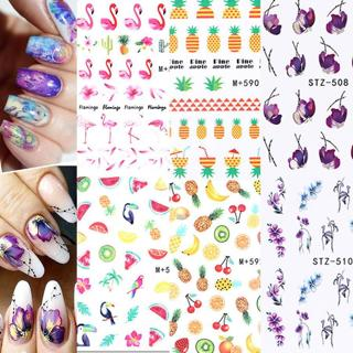 Nail Water Decals Transfer Stickers Flamingo  Pineapple UV Gel Decoration Tips