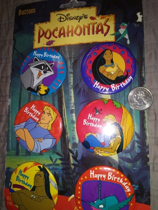 VINTAGE DISNEY POCAHONTAS BUTTONS NEW ON CARD!