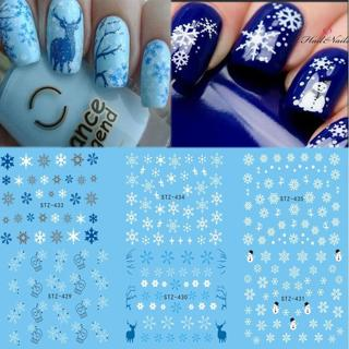 1 Sheet Water Nail Sticker Christmas Design Temporary Tattoos Elk/Snow Flowers/Owl Pattern Transfe
