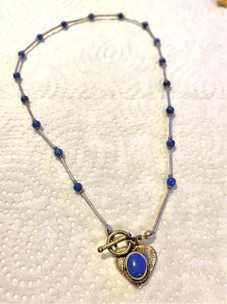 Pre owned,Vintage Liquid Silver Possible Lapis Pendant Necklace