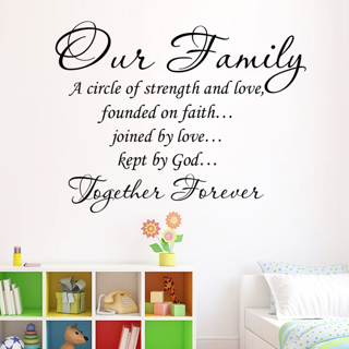 Our Family Removable PVC Decal Art Home Decor Quote Wall Window Room Sticker