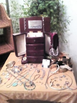 Huge Lot Of Jewelry + Large Armoire Jewelry Box Sterling +Costume Necklace Rings Bracelets + Bonus