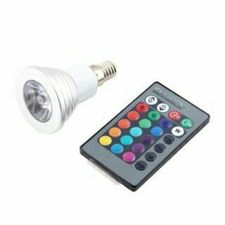 E14 3W 16 Color RGB LED Flash Light Bulb Lamp Remote Controller White