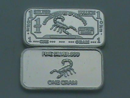 1 Gram Silver Bar Scorpion Bullion 999 Fine Pure Delmarva Mint