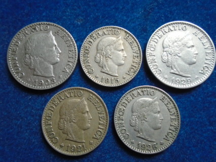 1903-1929 SWITZERLAND OLD COINS..FULL BOLD DATES!