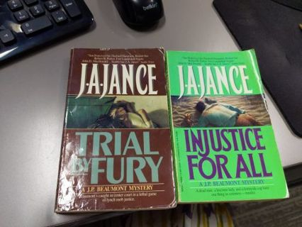 Lot of 2 J.A. Jance novels - Injustice for All, Trial by Fury - PAPERBACK