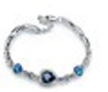 Fashion Women Ocean Blue Crystal Rhinestone Heart Bangle Bracelet~BNIP