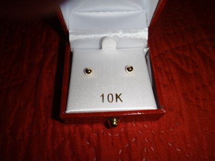 10K Yellow Gold 4mm Ball Stud Earring - Gift Boxed New/W Fast Ship