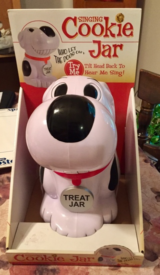 New Singing Cookie Jar Lift Head Sings Who Let The Dogs Out