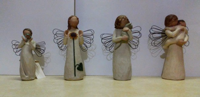 4 Willow Tree Angels, Summer, Angels Embrace, Bright Star, With Affection