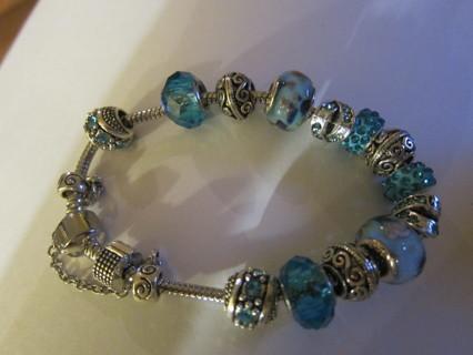 BEAUTIFUL, SILVER-TONE & AQUA BLUE PANDORA STYLE BRACELET!! 8 inch