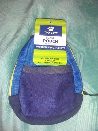 Dog leash poop bag holder