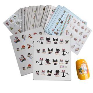 44 Sheets Mixed Christmas Sticker Nail Art Sticker Set Nail Decorations Manicure Water Tips Winter