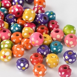100PC Mixed Color Round White Dot Dyed Wooden Beads Lead Free Jewelry Craft 10mm