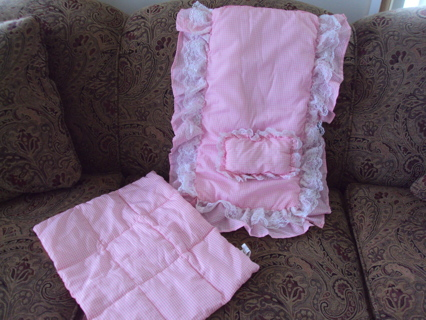 Doll Bedding Set Pink Check New With Tags