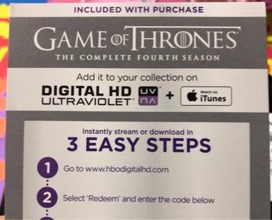 Game of Thrones Season 4 IV digital copy