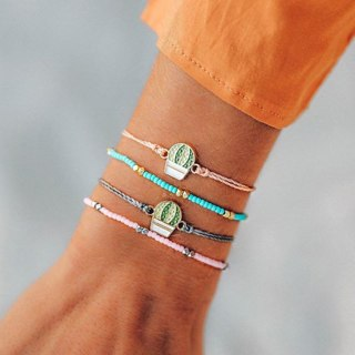 4 Pcs/set Boho Cactus Colorful Rope Chain Bracelets Set for Women Flower Adjustable Bead Bracelet
