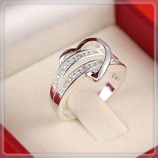 925 Sterling Silver Wedding Ring Gemstone Heart love Women US Size 6/7/8/9 B