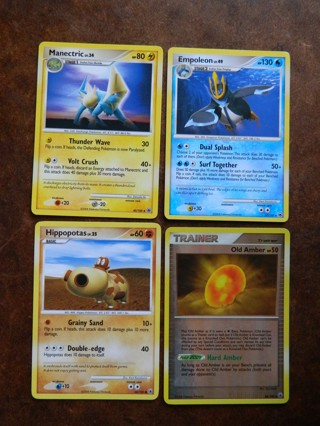 2008 (4) Pokemon Cards Manectric Empoleon Hippopotas & Old Amber (Trainer - Reverse HOLO) FREE Ship!