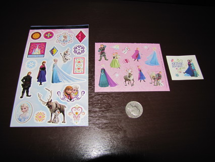Lot of 31 Disney Frozen Stickers and One Tattoo, ELSA ANNA SVEN OLAF KRISTOFF