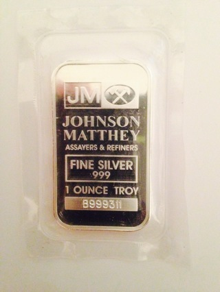 .999 Fine Silver Bar by Johnson Matthey