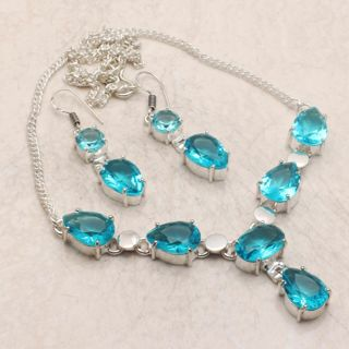 PRETTY AQUA BLUE SILVER PLATED NECKLACE/EARRING SET