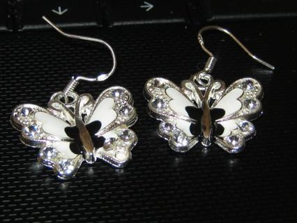 Beautiful White Butterfly Earrings