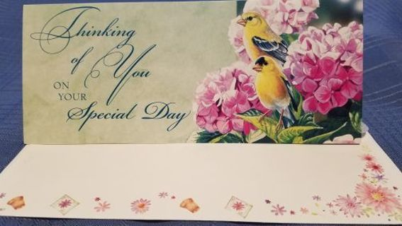 """""""THINKING OF YOU ON YOUR SPECIAL DAY CARD W/ MATCHING ENVELOPE"""