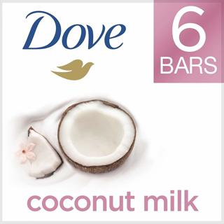 ❤~ Dove More Moisturizing Than Coconut Soap Bars, Coconut Milk Beauty Bar 4 oz, 6 Bars ~❤