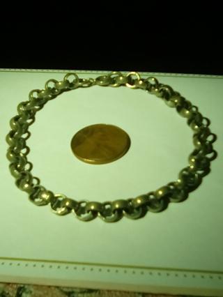Vintage metal charm bracelet in green bag