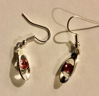 BNIP Pierced Fashion Earrings. Dangle Silver Plated Ruby Red. So Pretty!