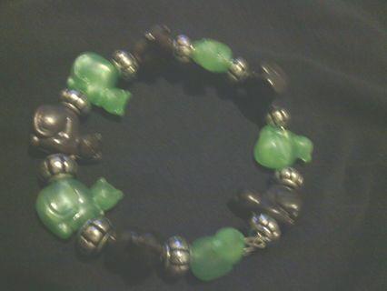 One of A Kind Jade and Black Cat Bracelet