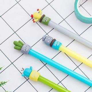 4pcs/lot Cactus Pen 0.5mm Black Ink Pens For School Chancellory Gel Pen Kawaii School Supplies Cut
