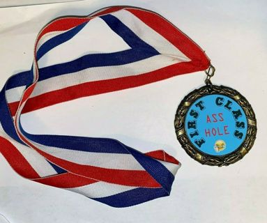 Funny gag gift First Class As*hole Medal with ribbon fc1