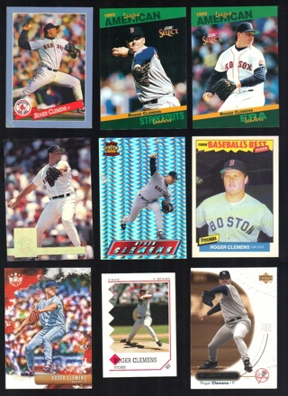 Roger Clemens 9 different Cards - Oddballs & Preminums - Boston Red Sox Toronto Blue Jays NY Yankees