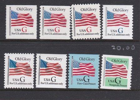 Eight US Old Glory G Postal Stamps - MNH - OG