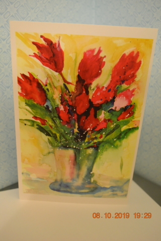 """****WATER COLOR VASE WITH FLOWERS """"BLANK CARD"""" W/ENVELOPE***FREE SHIPPING"""