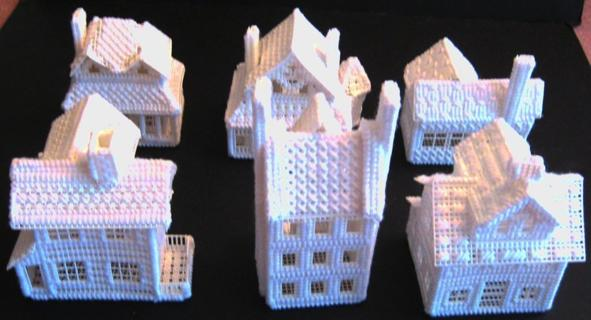 Plastic Canvas Victorian Ice Village (Houses) Set (Finished Pieces)