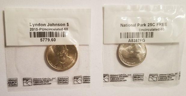 2 BU USA Coins - 2015 $1 & 25¢ Coins - Lyndon Johnson & Bombay Hook