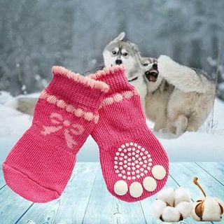 4Pcs/Set Pet Dog Pooch Doggie Paw Protection Warm Socks with Waterproof Rubber