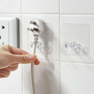10Pcs Wall No Trace Adhesive Power Plug Hook Socket Holder Storage Hanger