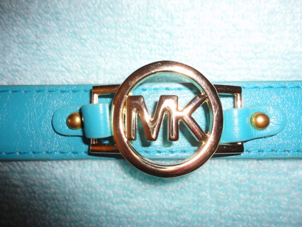 MICHAEL KORS TEAL LEATHER WRISTLET WITH MK ON IT!!!