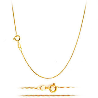 "18K Gold Plated Classic Italian Thin Box Chain Necklace for Pendants - For children 14"" inch"
