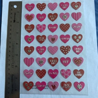 〃♡ Large Valentines Red Pink and Silver Designs Hearts Sticker Sheet BRAND NEW ♡〃
