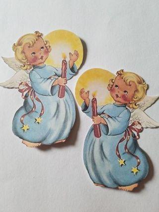 "Vintage Christmas Angel Cutouts, 2 pcs, #0327 ""Last Batch of Christmas Cutouts"""