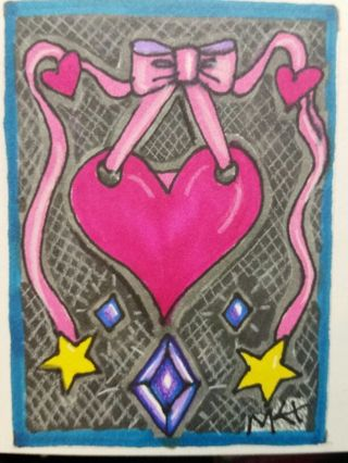Heart-with Ribbon - Valentine - #208- NEW My Original MK Drawing ATC / ACEO NOT a copy